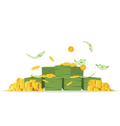 bundles money with lots coins and flying vector image