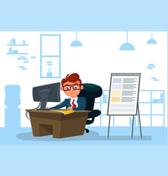 business man working on computer sit at desk over vector image