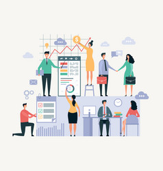 business team working office managers businessmen vector image