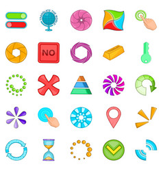 button icons set cartoon style vector image
