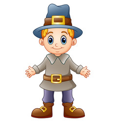 Cartoon boy pilgrim vector