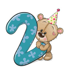 Cartoon teddy bear and number two isolated on a vector