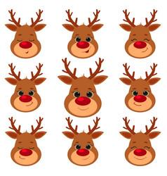 collection set nine cute reindeer head vector image