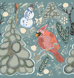 colorful winter pattern with red bird of cardinal vector image