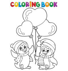 coloring book valentine penguins 1 vector image