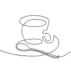 Continuous one line drawing - a cup of coffee with vector