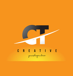 Ct c t letter modern logo design with yellow vector