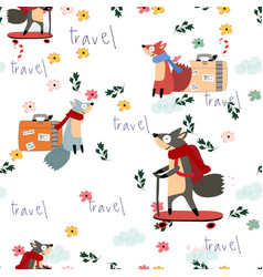 cute fox cartoon merry christmas seamless pattern vector image