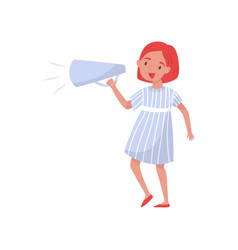 cute girl screaming into megaphone young woman vector image