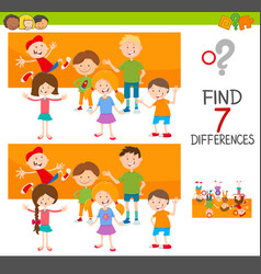 differences game with kid characters vector image