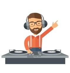 Disc jockey mixing music vector