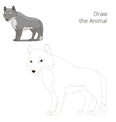Draw the forest animal wolf cartoon vector image