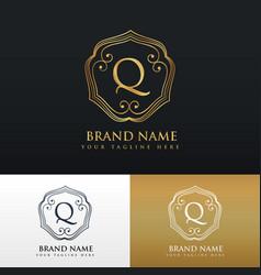 Elegant letter q logo monogram style design vector
