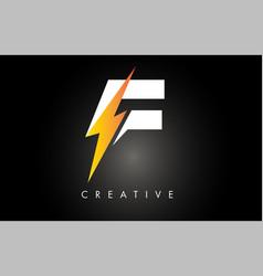 F letter logo design with lighting thunder bolt vector
