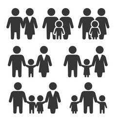 family icons set on white background vector image