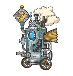 Fantastic steam punk machine engraving vector