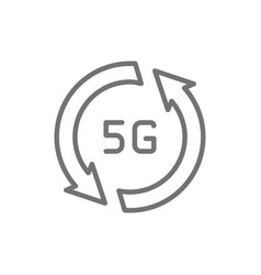 fast 5g internet line icon isolated on white vector image