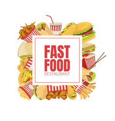 fast food banner template menu or advertising vector image