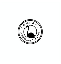 flamingo stamp badge logo design vector image