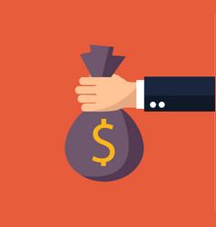 flat background with money bag vector image