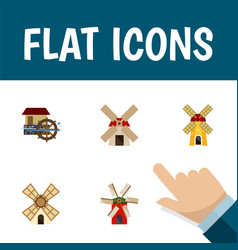 Flat icon mill set of windmill ecology wheel and vector