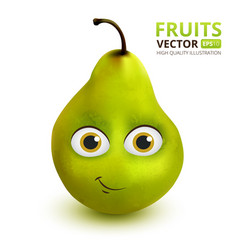 funny and cute pear cartoon mascot character vector image