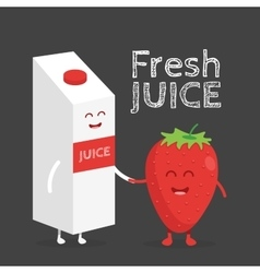 Funny cute strawberry juice packaging and glass vector image