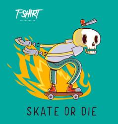 Funny skeleton skater print on t-shirts vector