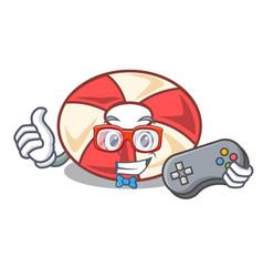gamer swim tube mascot cartoon vector image