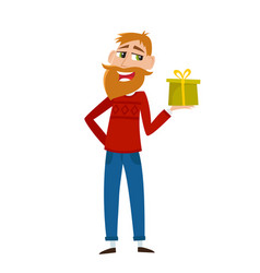 Geeky hipster with beard in red sweater offering vector