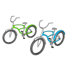 Green and blue bike on white background vector