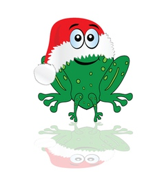 green frog with christmas red hat vector image