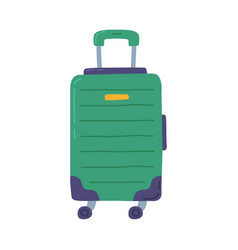 Green modern plastic suitcase on wheels travel vector
