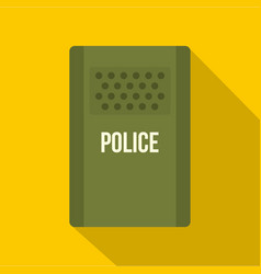 Green police riot shield icon flat style vector
