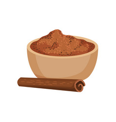 Ground cinnamon in ceramic bowl and one rolled vector