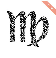 hand drawn black ornate horoscope symbol - virgo vector image