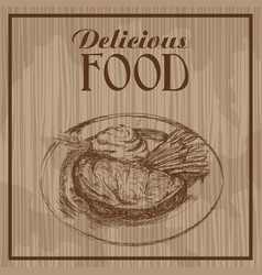 hand drawn steak vegetable delicious food poster vector image