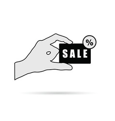 hand with sale card on white vector image
