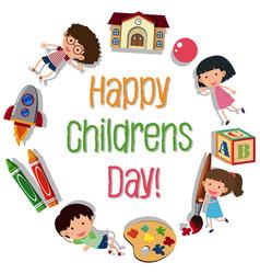 Happy children day logo vector