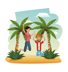 Happy couple leap beach time travel tropical vector