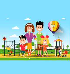 happy famiy in city park vector image