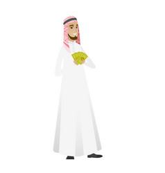 Happy muslim businessman holding money vector
