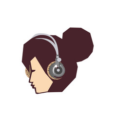 head of young woman with headphone vector image