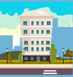 high building on street vector image