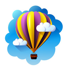 hot air balloon in blue sky vector image