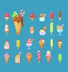 ice cream summer dessert cartoon vector image