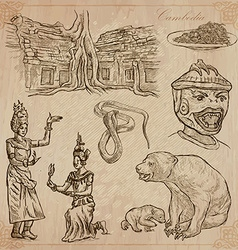 Kingdom of Cambodia - Hand drawn pack vector image vector image