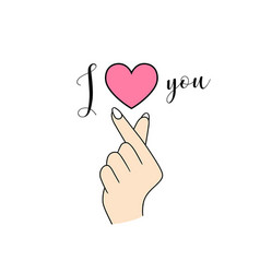 korean symbol hand left heart i love you vector image