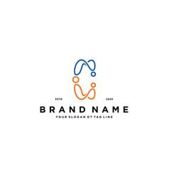 Letter c people logo design vector