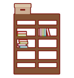 line color bookcase with books inside and box vector image